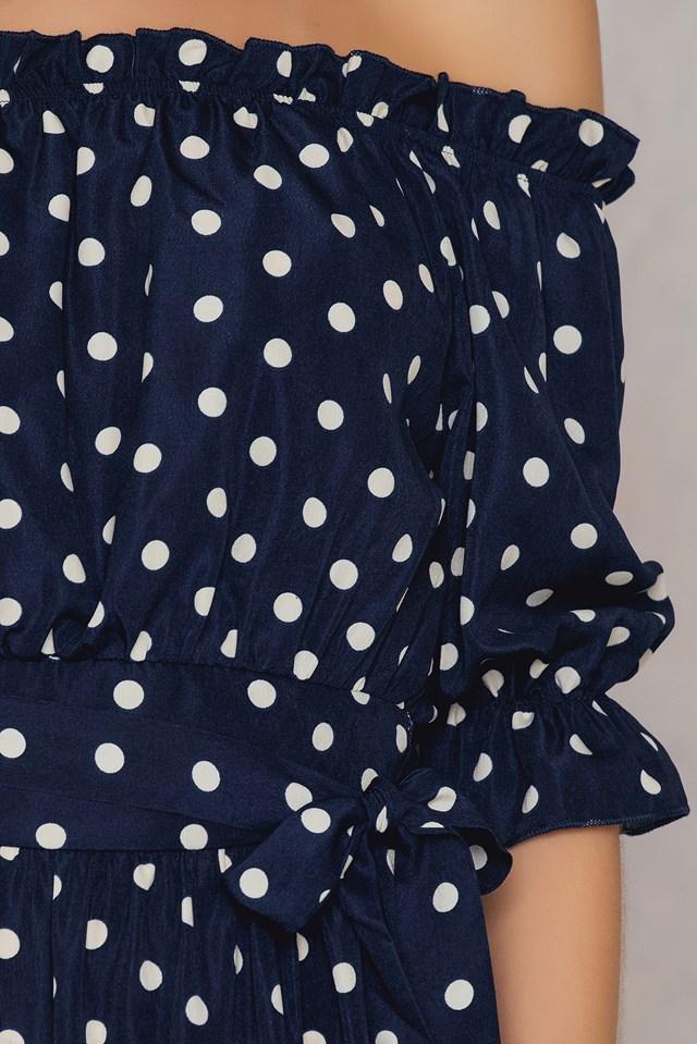 Off Shoulder Ruffle Maxi Dress Navy