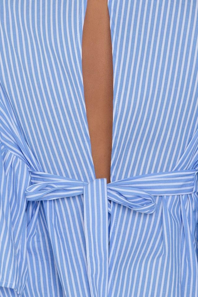 Open Back Kimono Top Blue