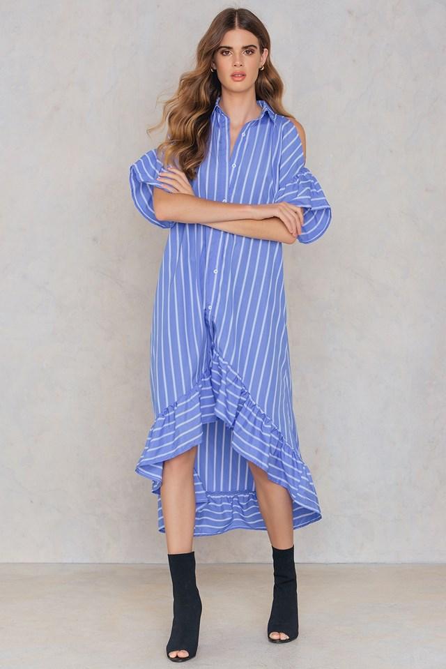 Open Shoulder Midi Dress Blue