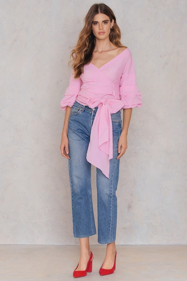 Ruched Sleeve Blouse Pink