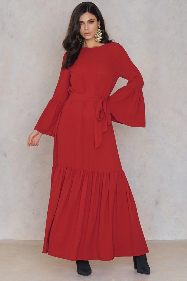 Ruffle Hem Long Dress Red
