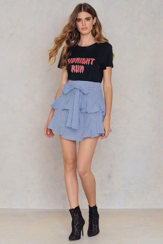 Self Belt Tiered Skirt Blue
