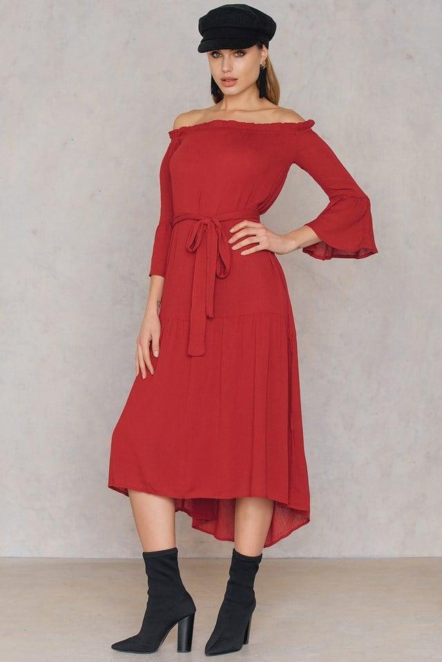 Self Tie Bardot Dress Red