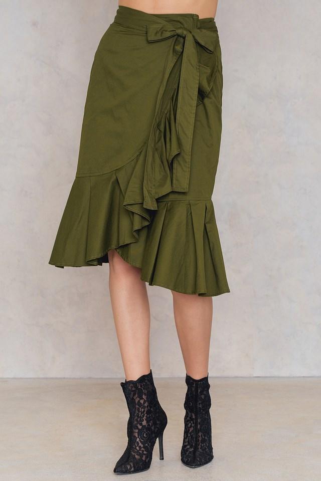 Self Tie Wrap Skirt Green