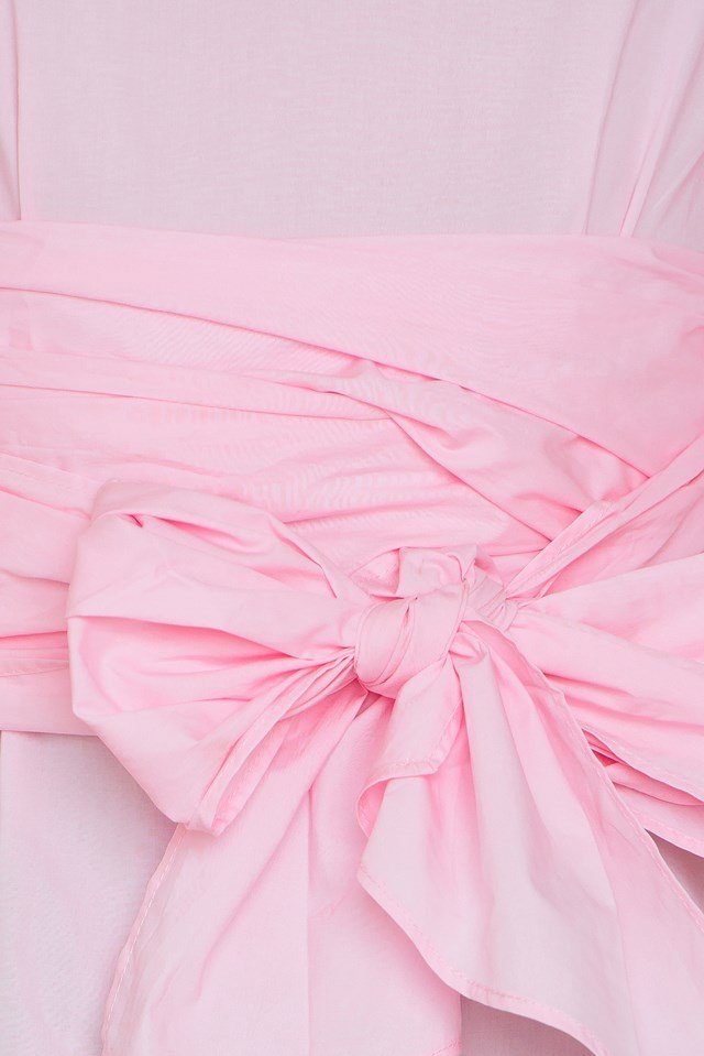 Sleeve Bow Tie Blouse Pink