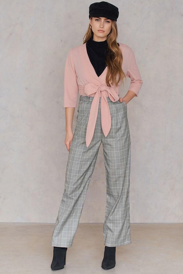 Tie Front Wrap Blazer Pink