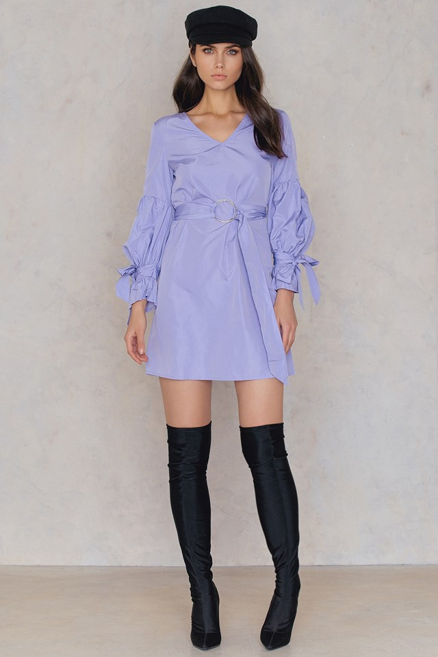 Tie Sleeve Belt Dress Lavender