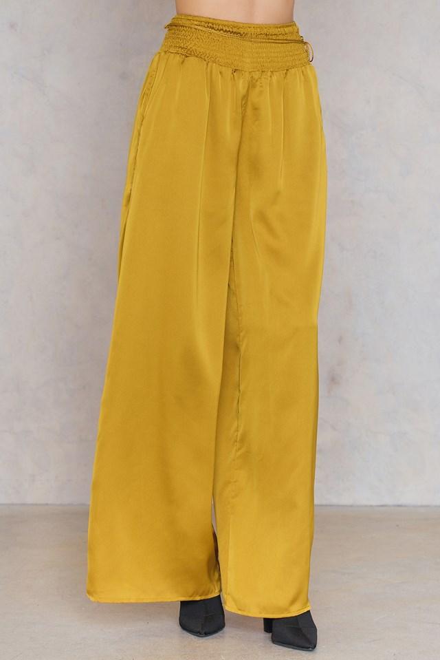 Tied Waist Pants Yellow