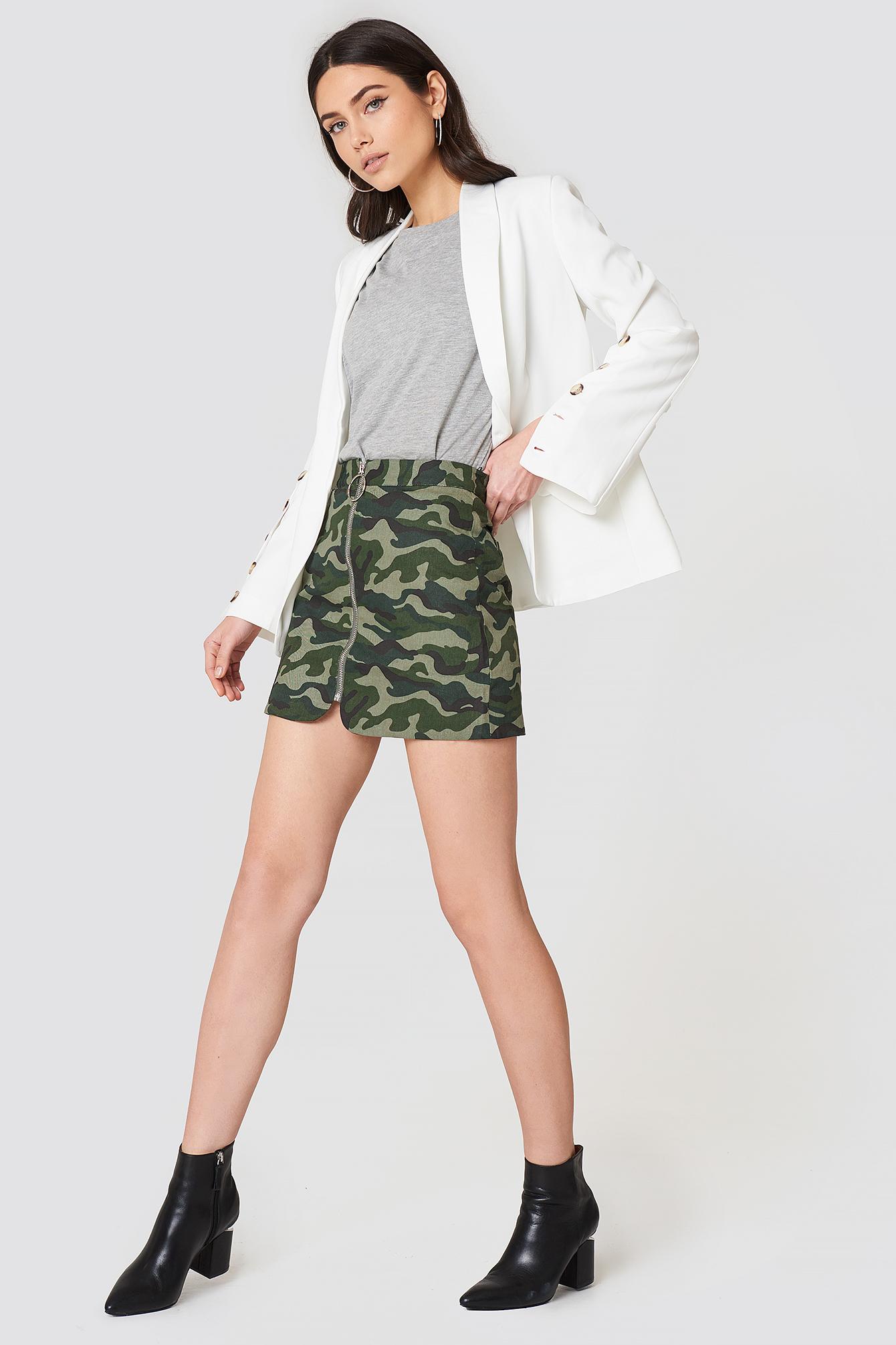Camo Zipper Skirt NA-KD.COM