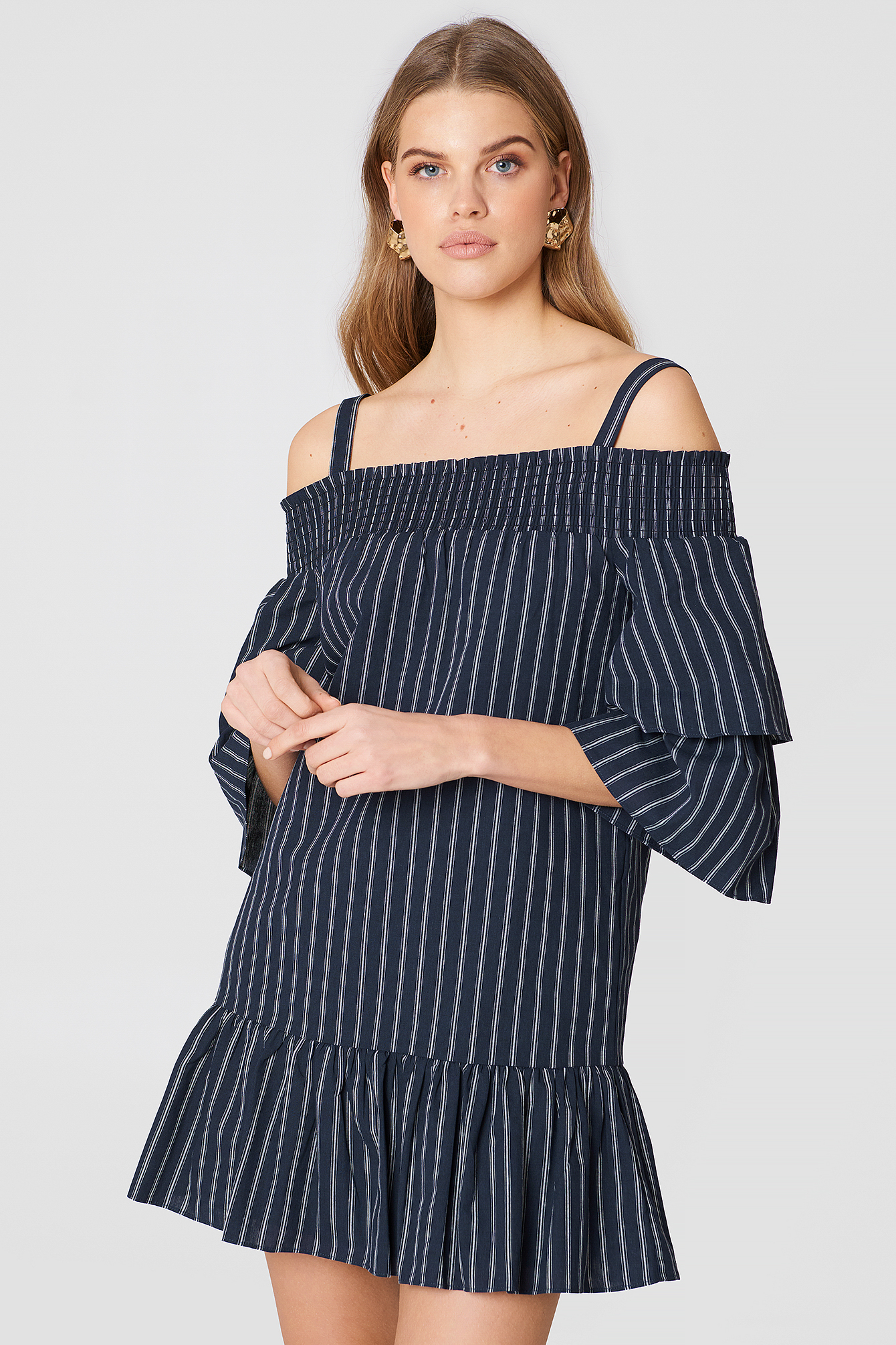 Off Shoulder Smocked Dress - Blue, Navy