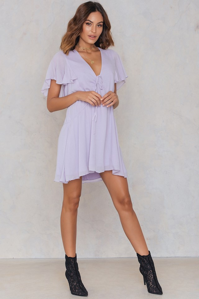Ruffled Gathering Dress Pale Lavender