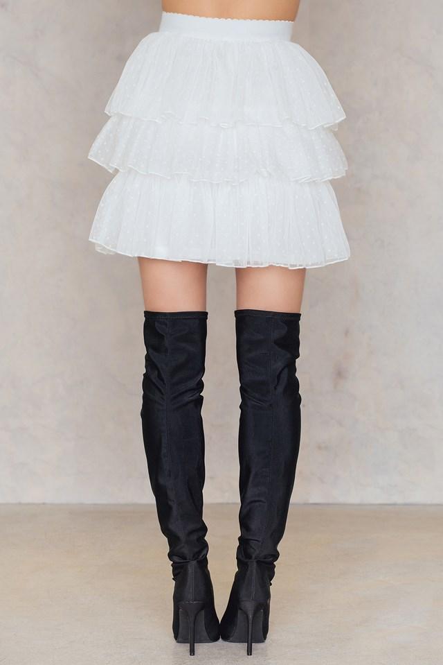 Ruffled Mini Skirt White