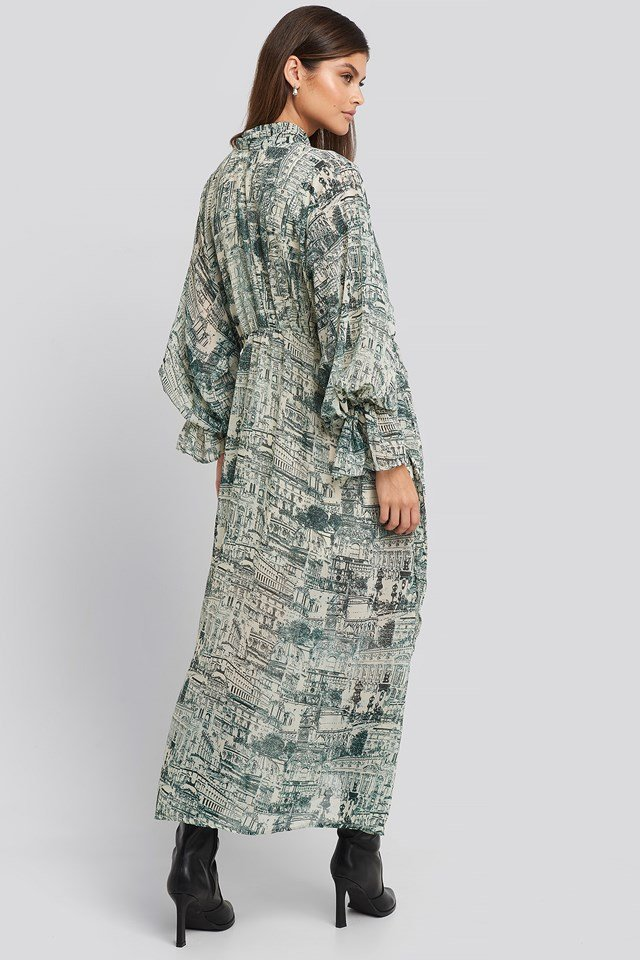 Printed Tie Collar Maxi Dress Blue Print