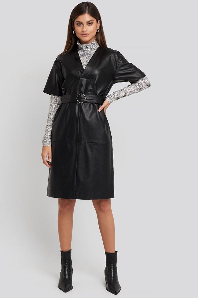 V-Front Buckle Belt PU Dress Black