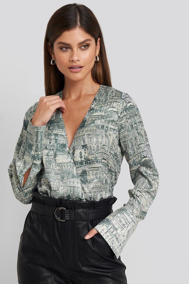 Wrap Satin Top Blue Print
