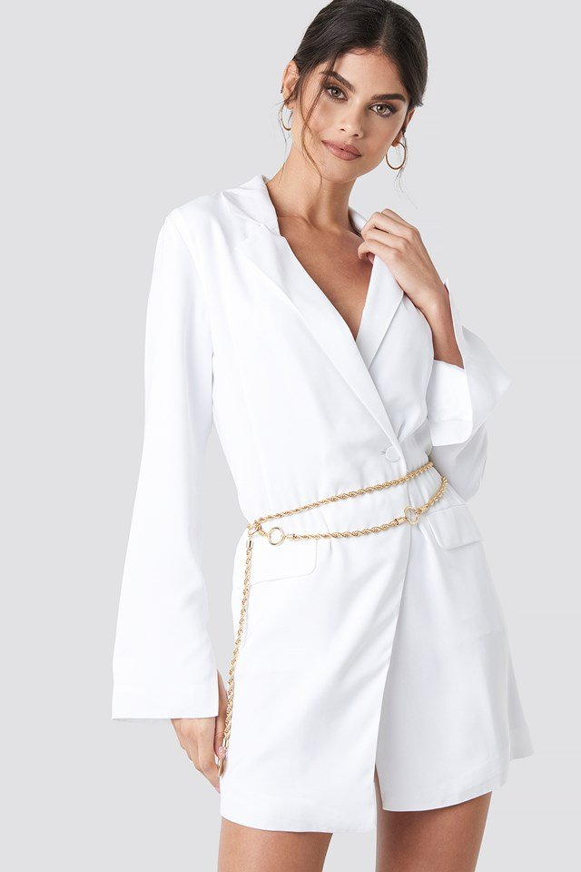 Asymmetric Blazer Dress White
