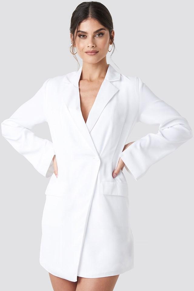 Asymmetric Blazer Dress White