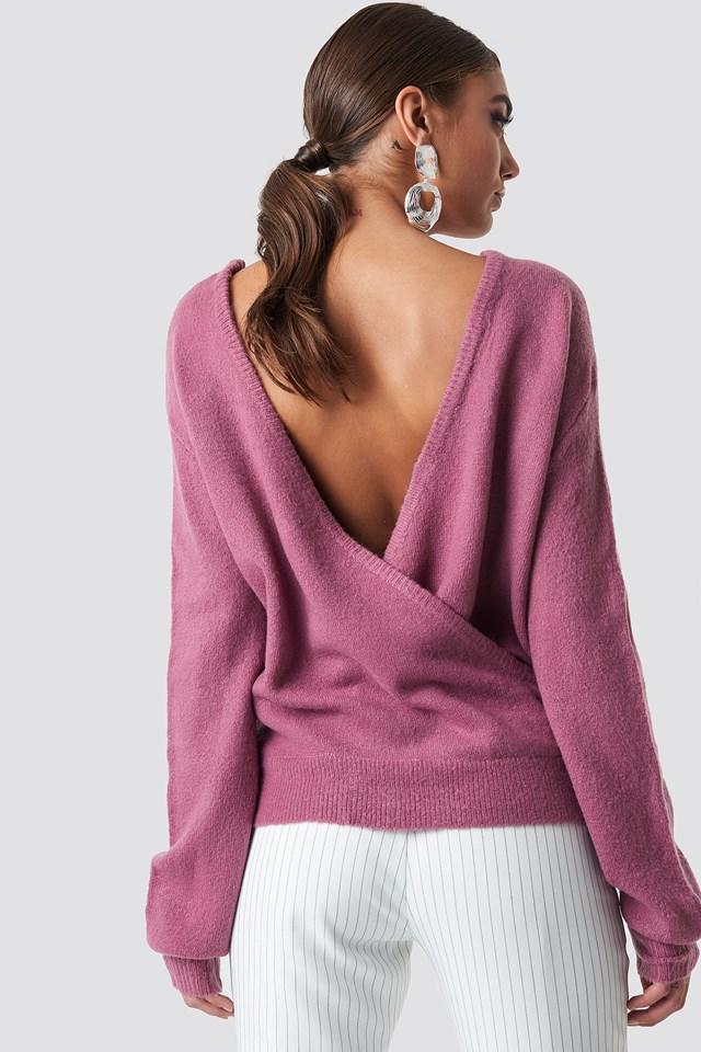 Dzianinowy sweter z kopertowym tyłem Dark Purple Rose