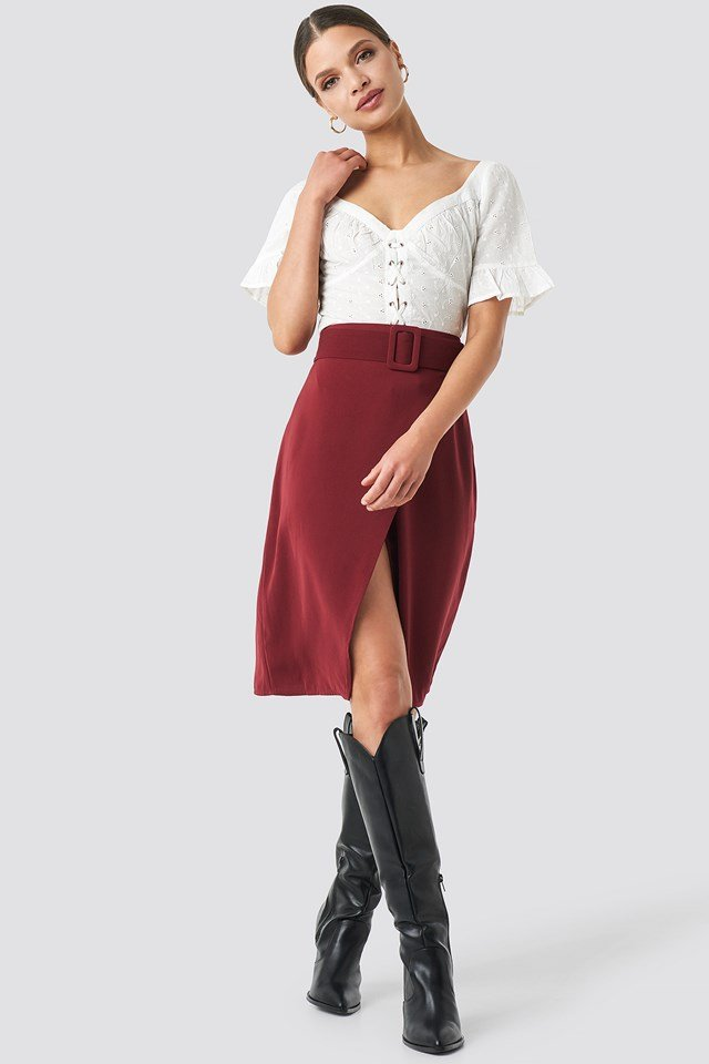 Belted Overlap Skirt Burgundy