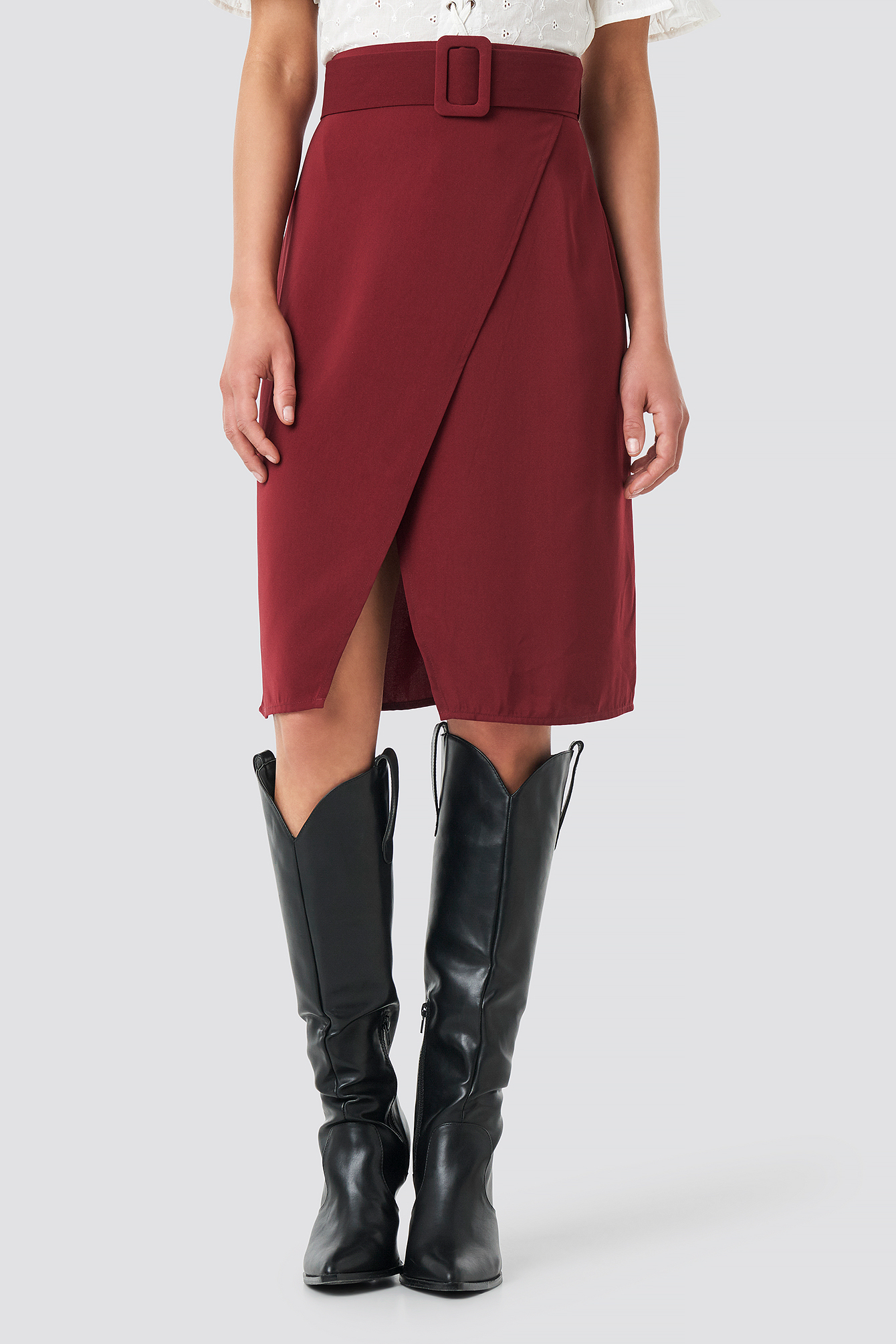 Belted Overlap Skirt NA-KD.COM