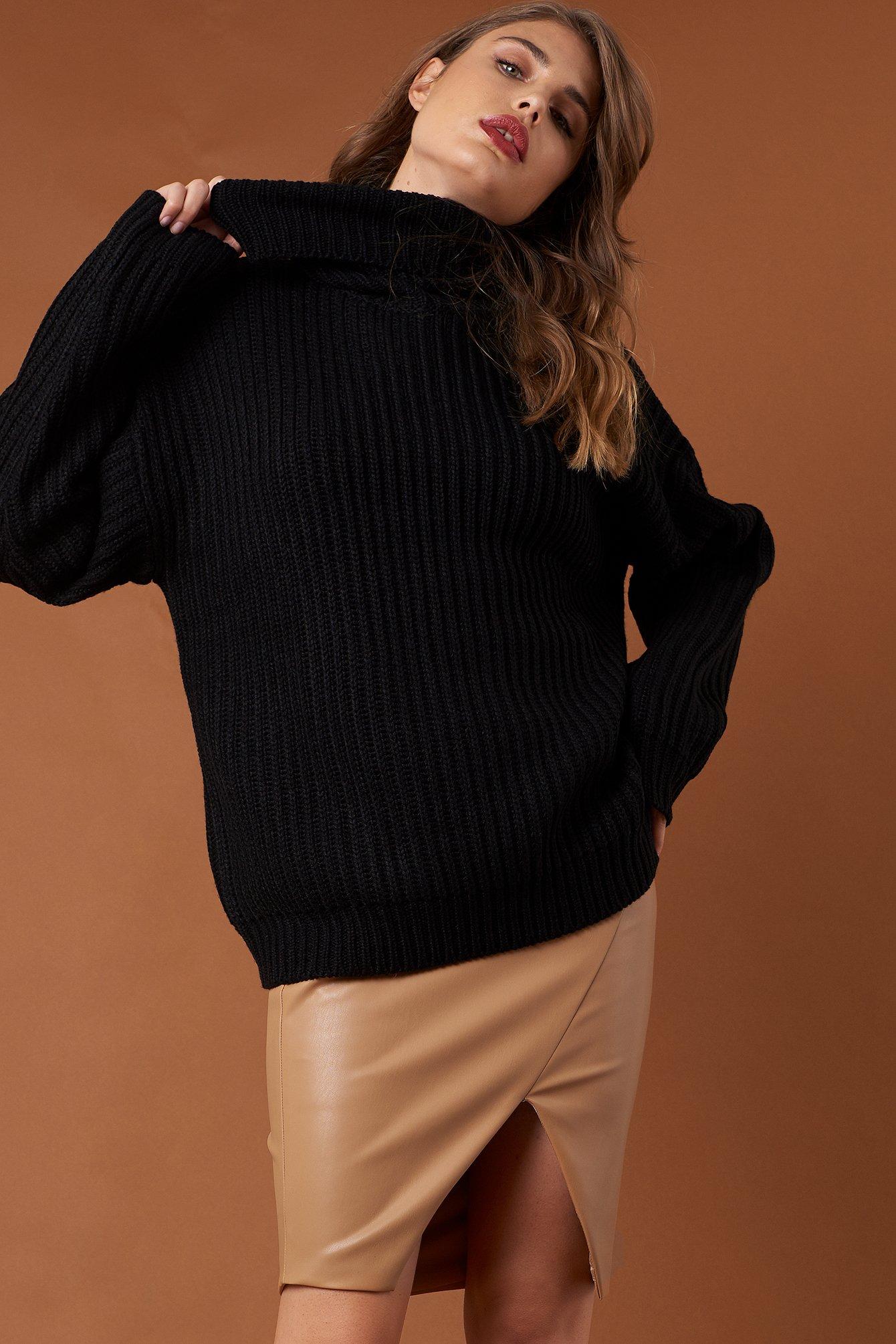 na-kd trend -  Big Chunky Knitted Sweater - Black