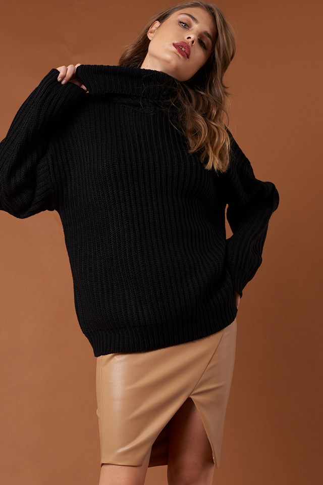 Big Chunky Knitted Sweater Black