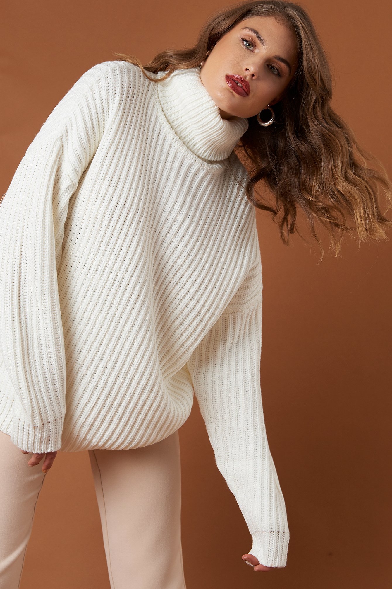 na-kd trend -  Big Chunky Knitted Sweater - White