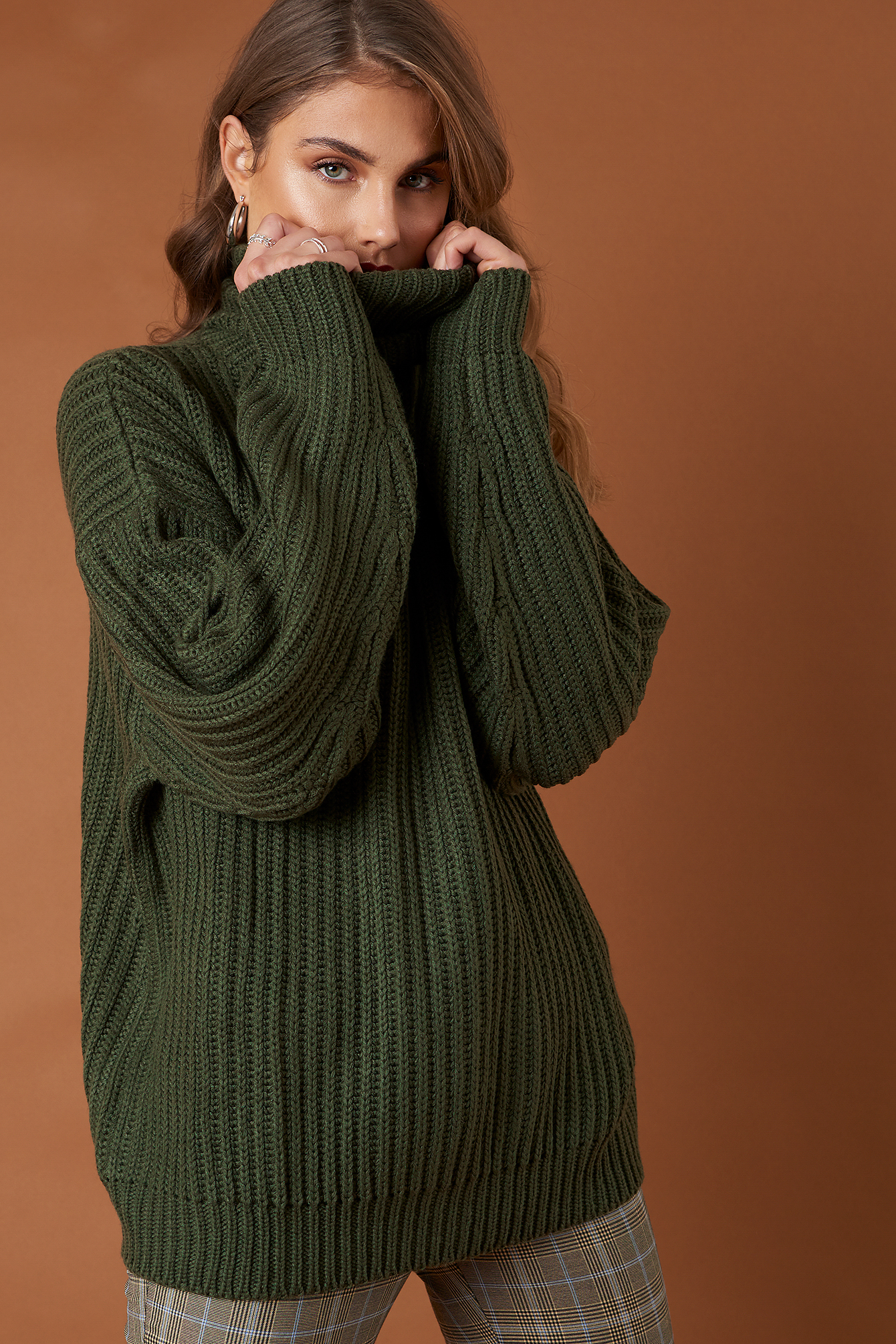 na-kd trend -  Big Chunky Knitted Sweater - Green
