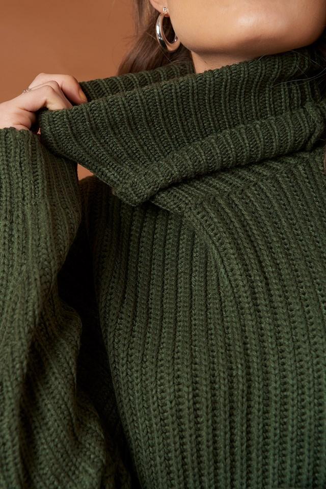 Big Chunky Knitted Sweater Khaki Green