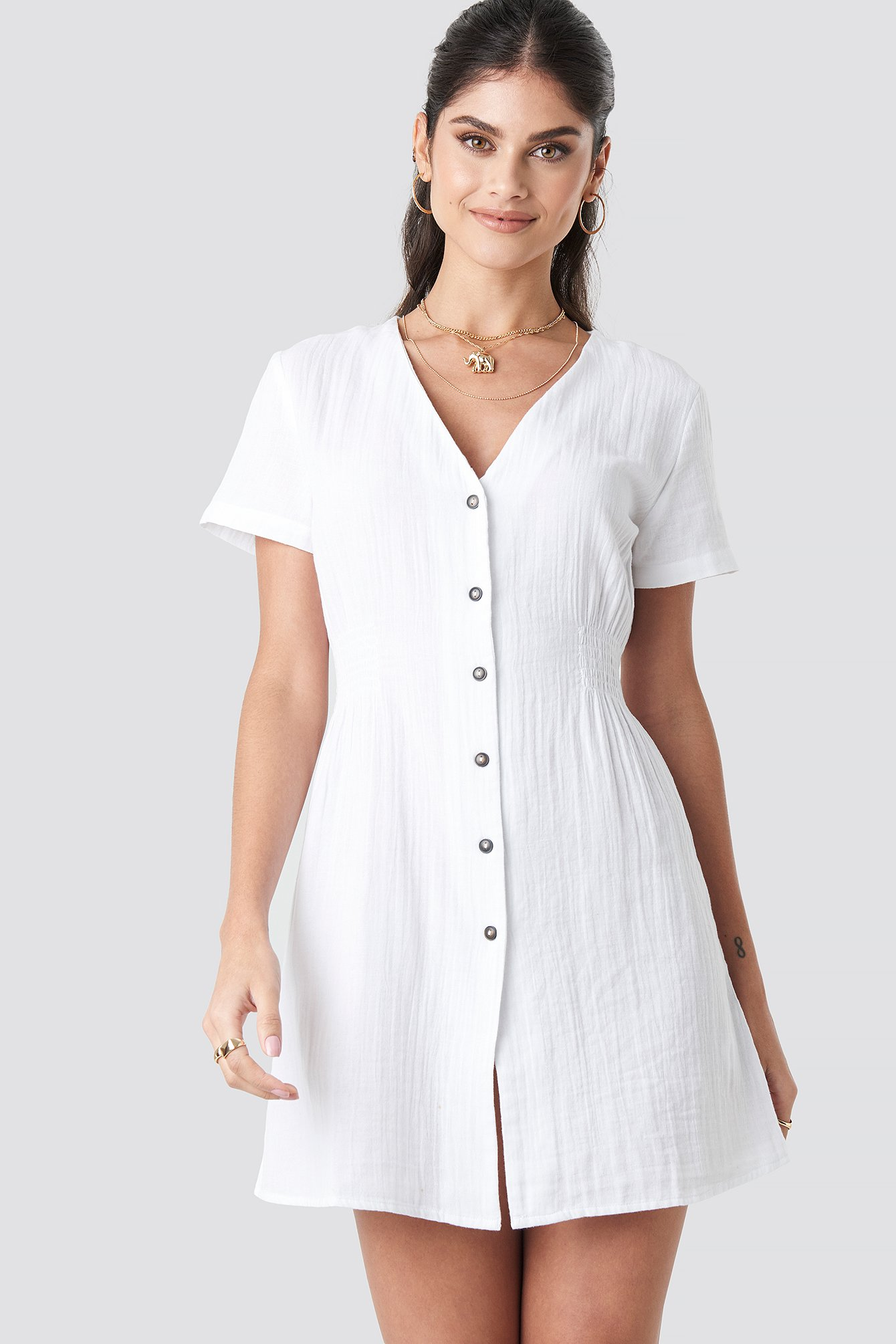 na-kd trend -  Button Marked Waist Short Dress - White