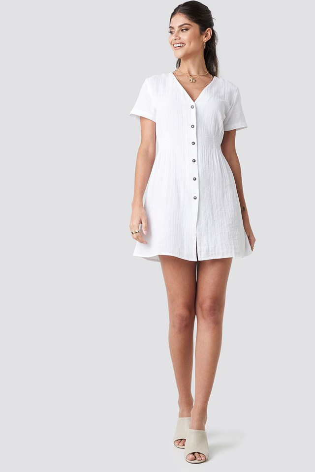 Button Marked Waist Short Dress White