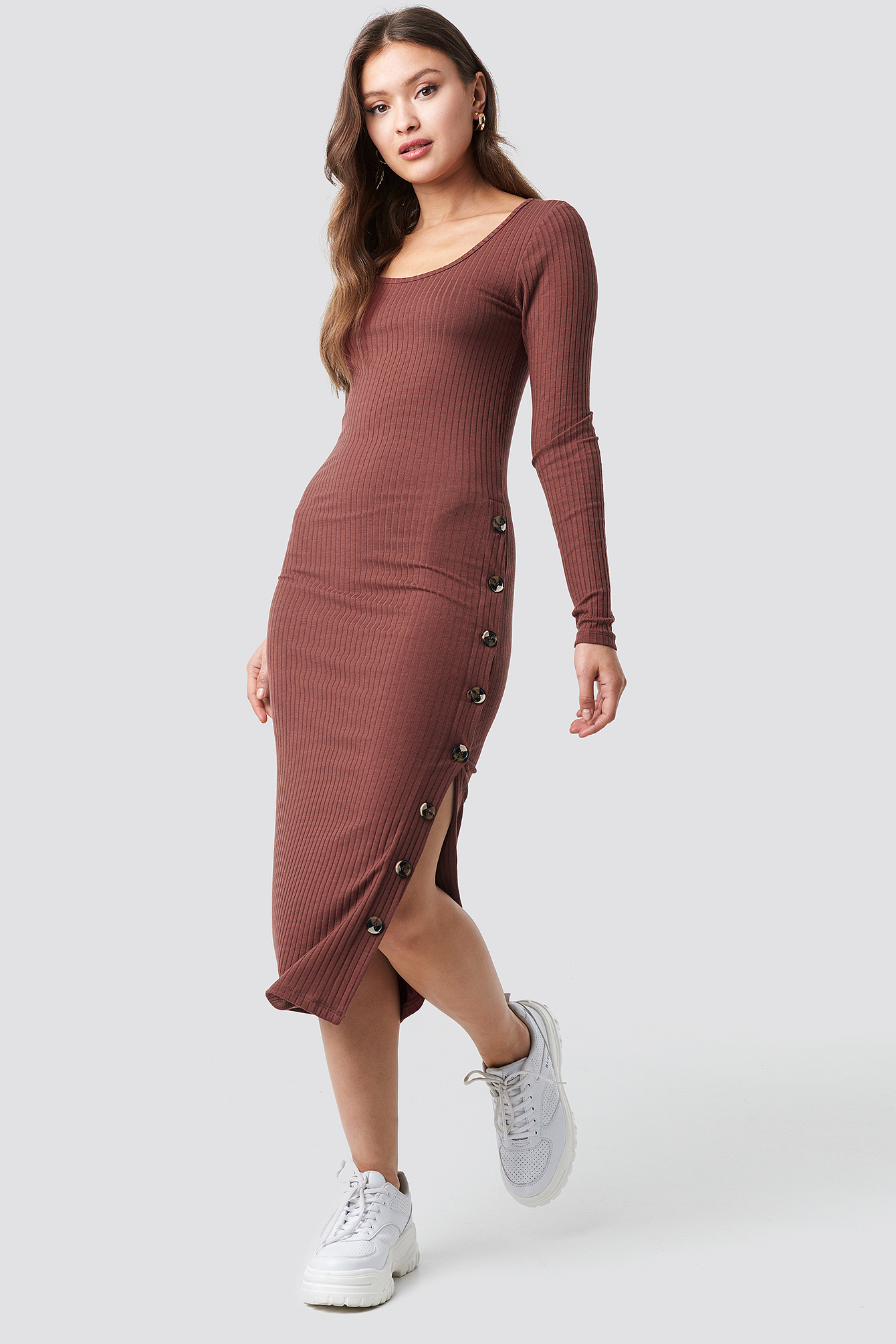 Button Ribbed Midi Dress NA-KD.COM