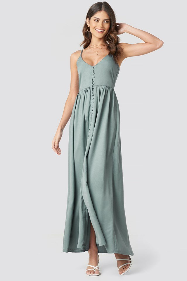 Button Up V-Neck Dress Dusty Green