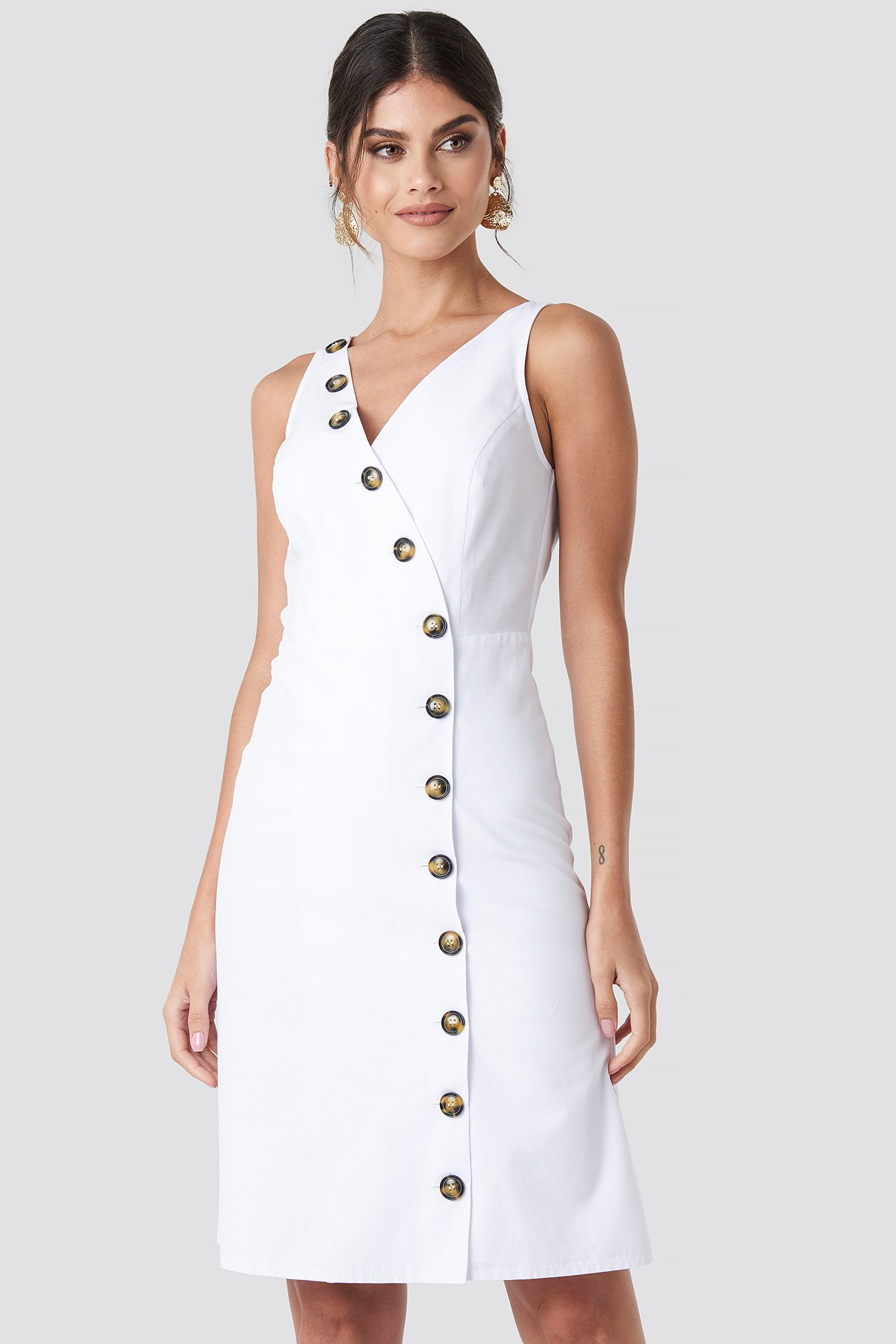 na-kd trend -  Buttoned Detail Dress - White