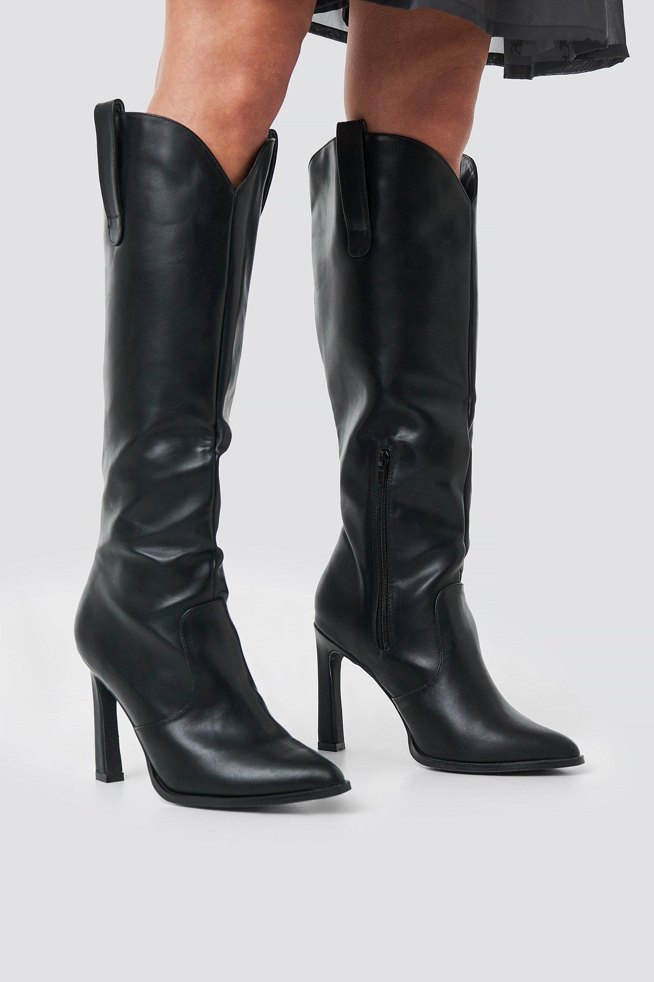 na-kd shoes -  Calf High Cowboy Boots - Black
