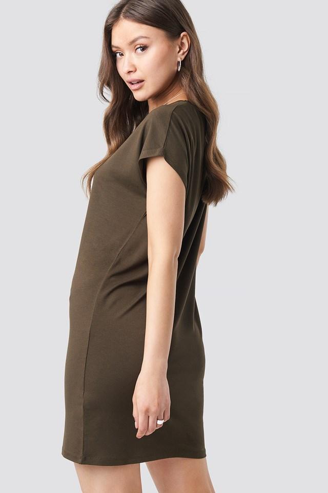 Cap Sleeve Viscose Dress Coffee