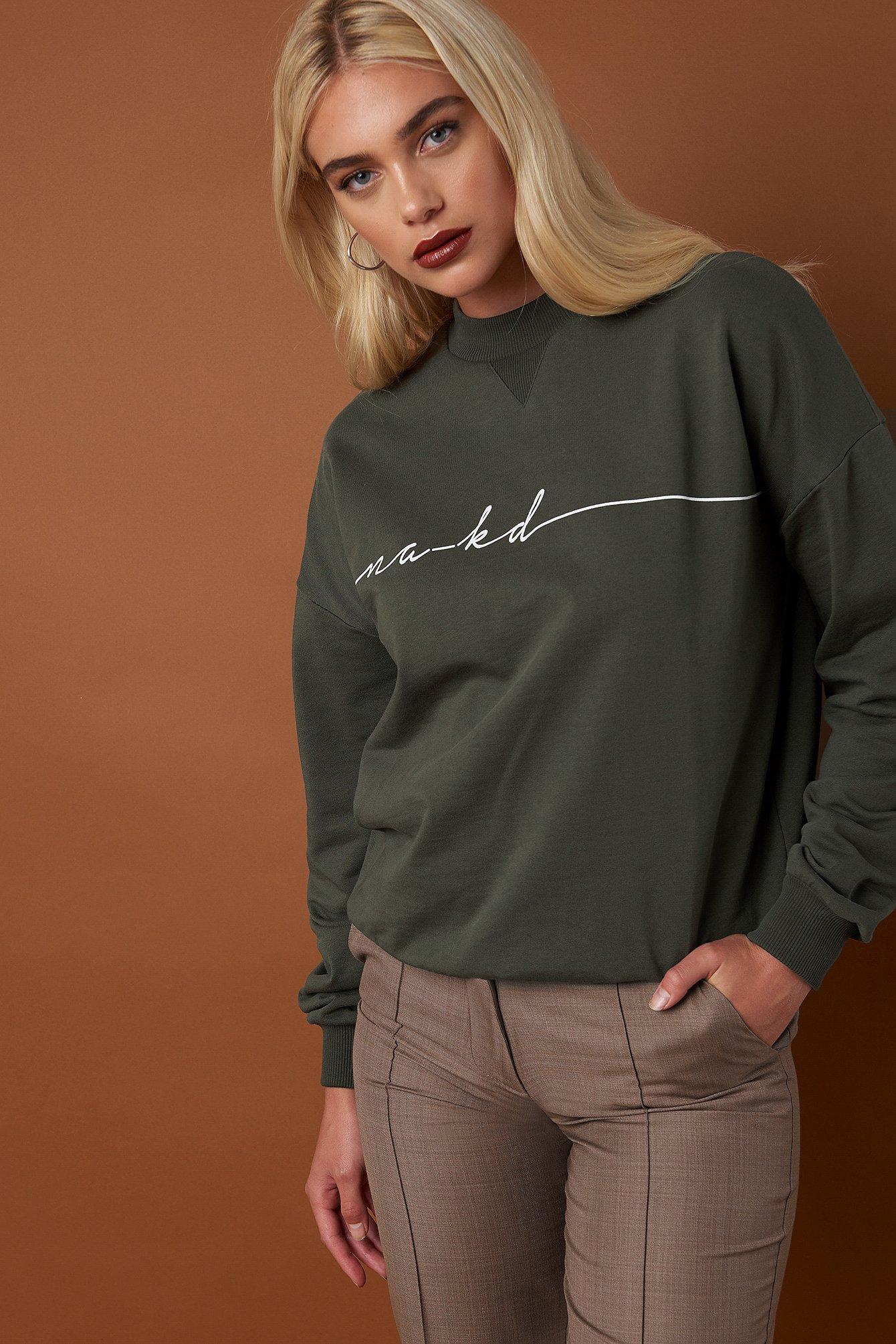 na-kd trend -  Chest Branded Sweatshirt - Green