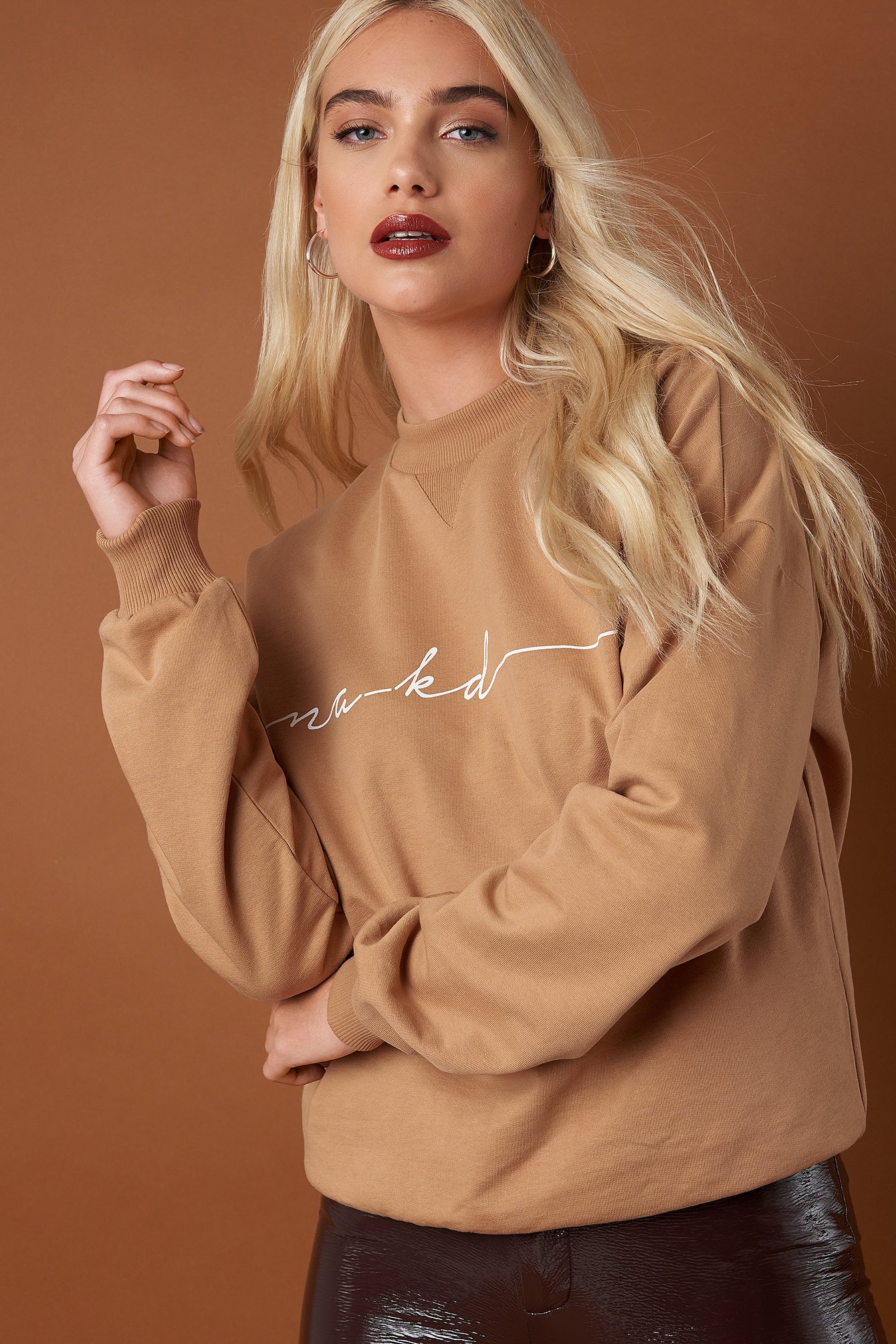 na-kd trend -  Chest Branded Sweatshirt - Beige