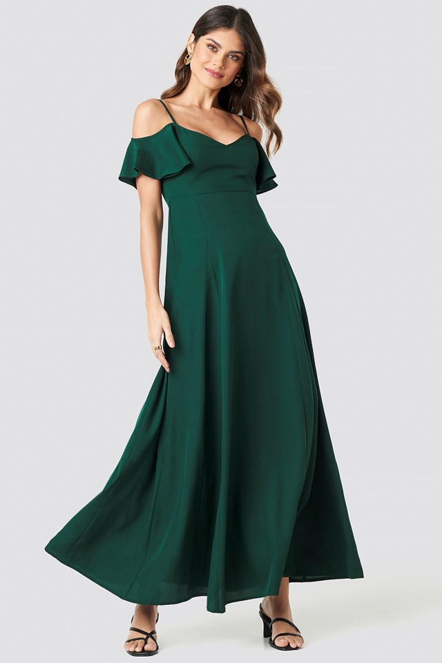 Cold Shoulder Maxi Dress Dark Green