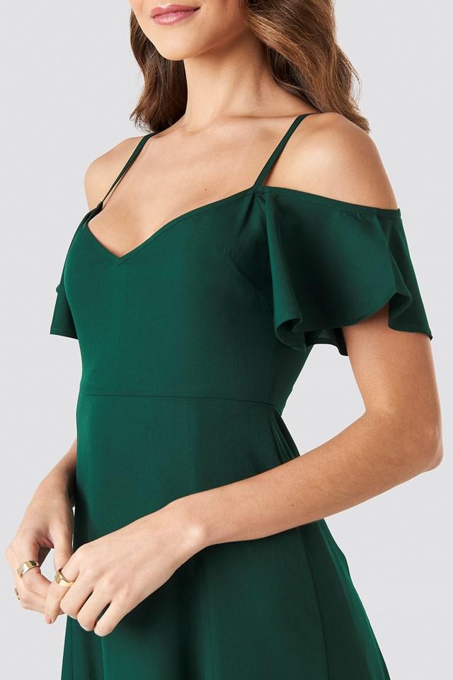 Cold Shoulder Maxi Dress Dark Green