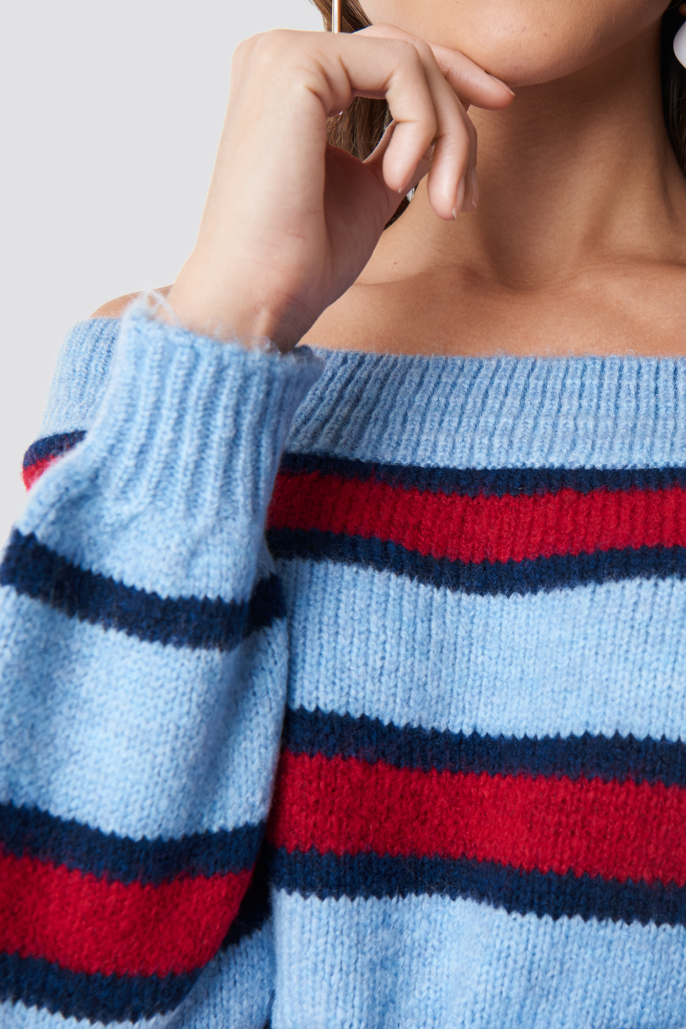 Color Striped Off Shoulder Knitted Sweater NA-KD.COM