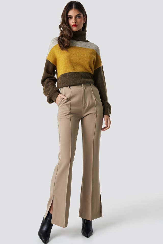 Color Blocked High Neck Knitted Sweater Mustard