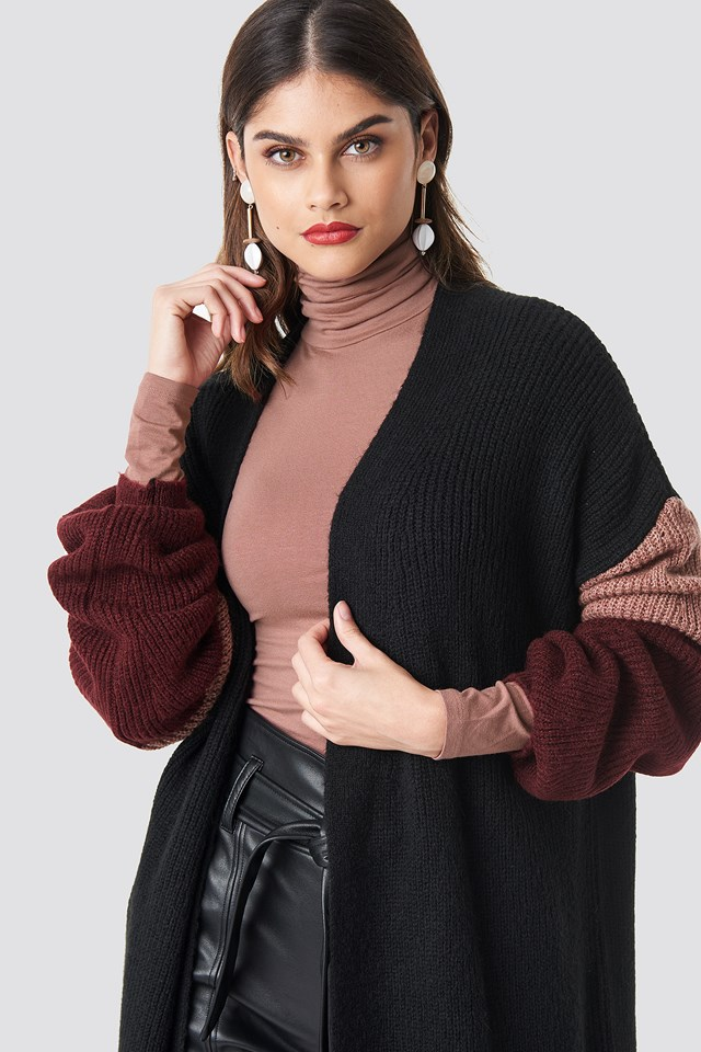 Color Blocked Knitted Cardigan Black