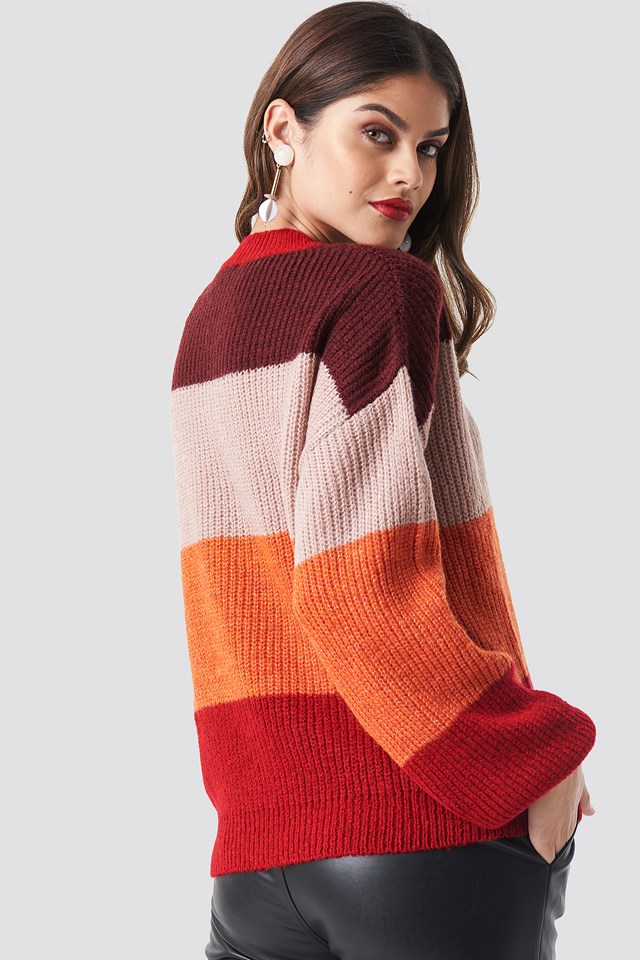 Color Striped Balloon Sleeve Knitted Sweater Red