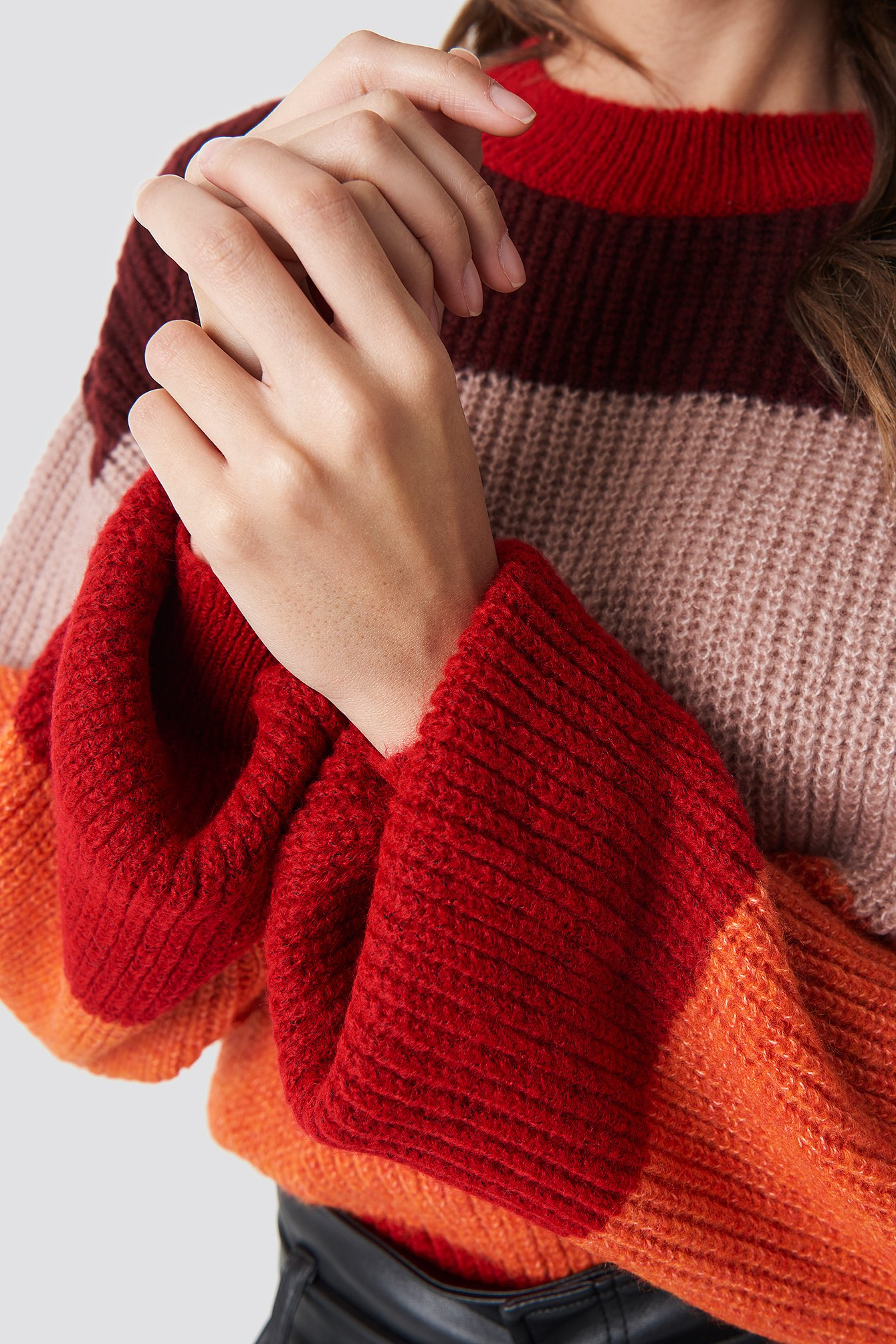 Color Striped Balloon Sleeve Knitted Sweater NA-KD.COM