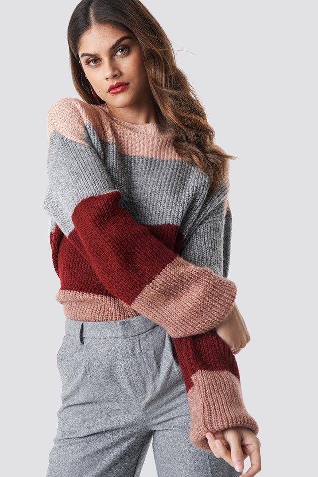 Color Striped Balloon Sleeve Knitted Sweater Pink