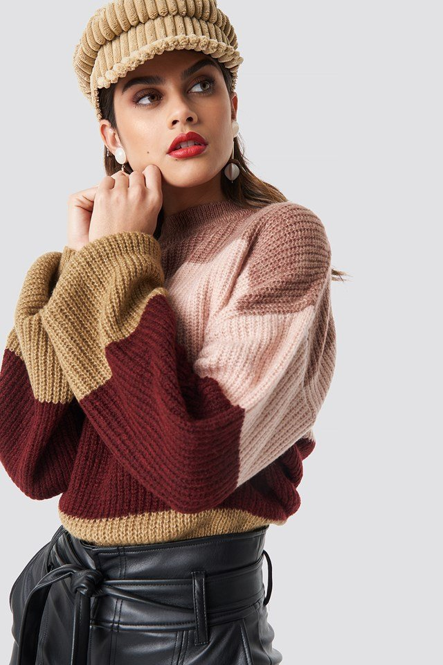 Color Striped Balloon Sleeve Knitted Sweater Purple