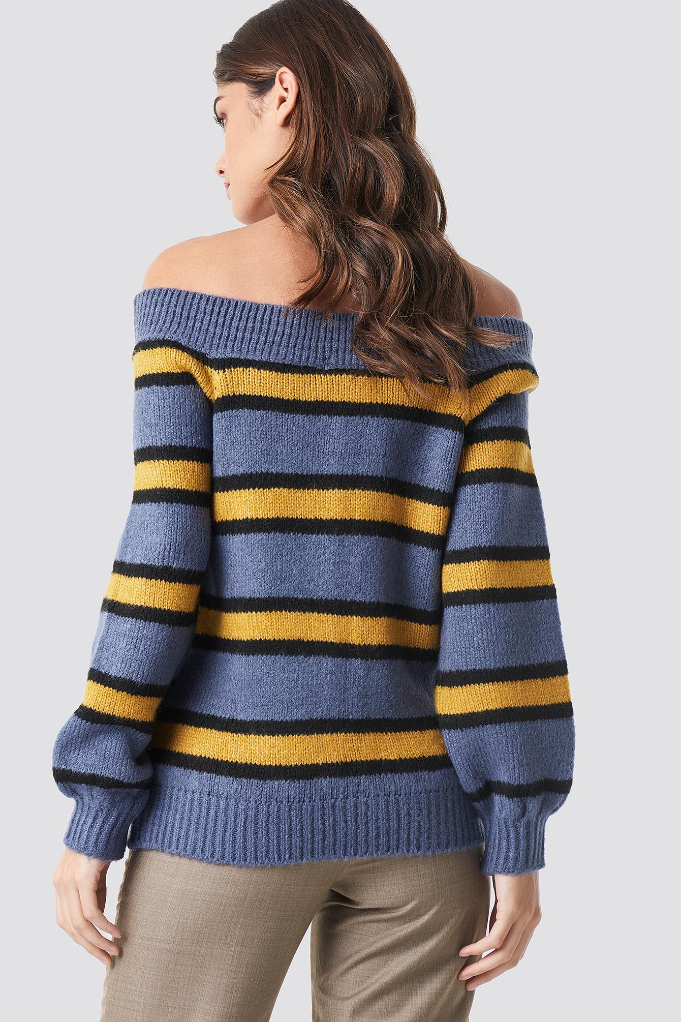 Color Striped Off Shoulder Knitted Sweater NA-KD.COM