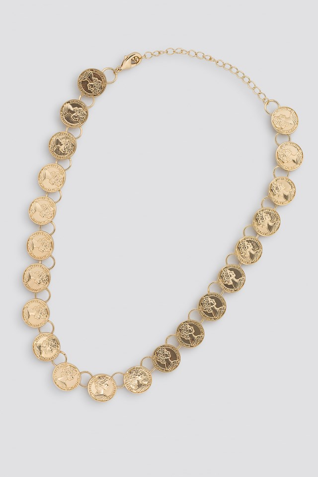 Connected Coin Necklace Gold