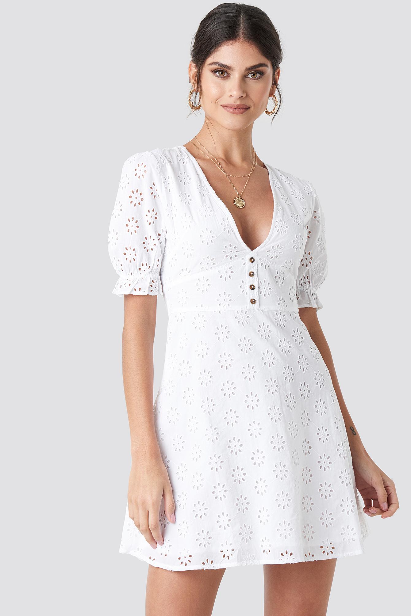 na-kd boho -  Cotton Anglaise Mini Dress - White